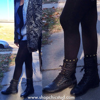 Studded Socks - Black Socks - Gold or Silver Studs