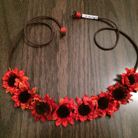 Orange Sunflower Flower Headband, Flower Crown, Flower Halo, Festival Wear, EDC, Coachella, Ultra, Ezoo