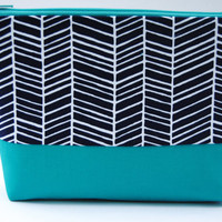 Midnight blue herringbone print cosmetic case, makeup bag, zipper pouch with kelly green accent