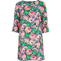 GREEN FLORAL PRINT SHIFT DRESS