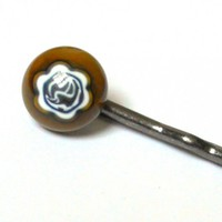 Cocoa Brown Millefiori Flower Bobby Pin, Handmade Fused Glass