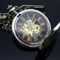 Watch 098: Pocket Watch, Stainless Steel Mechanical Watch, Roman Digits Watch, Best Chosen Gift