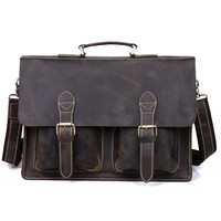 "Vintage Handmade Crazy Horse Leather Briefcase Messenger 14"" 15"" Laptop 13"" 15"" MacBook Bag (z02)"