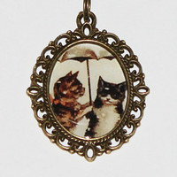 Umbrella Cat Pendant Necklace