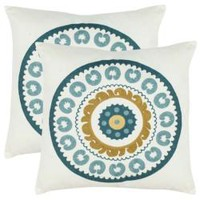 Celebrations 18-inch White/ Turquoise Decorative Pillows (Set of 2)