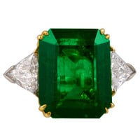 Two Tone Emerald Diamond Ring
