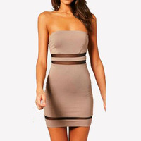 Women's Slim Cut Strapless Bandeau Tube Tunic Bodycon Dress Cocktail Club Party