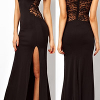 Womens lace High Slit Ruch Stretch Maxi Party Cocktail Evening Long Dress XL