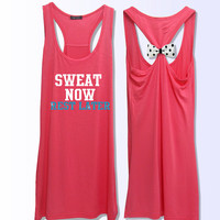 Sweat now rest later work out bow tank top PK_131