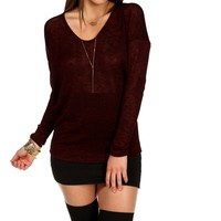 Burgundy V Neck Dolman Top