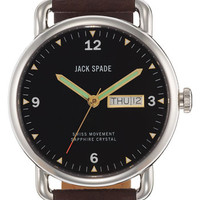 Jack Spade 'Buckner' Leather Strap Watch, 42mm | Nordstrom