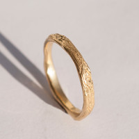 Twig Ring no.2 - 14K Gold Ring, unisex ring, wedding ring, wedding band, antique, art nouveau, vintage, bark ring, wood ring, rough