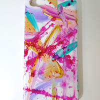 Abstract iPhone 5/5s Cellphone Case Pink Original Artwork Contemporary Painting Hand Painted Modern Art