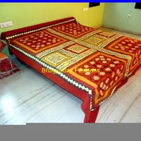 Hippie Bohemian Patch Applique Gypsy Bed Sheet Bed Spread, Bed cover,Mandala Indian Tapestry Cotton Carpet rug In Traditional Jaipur color