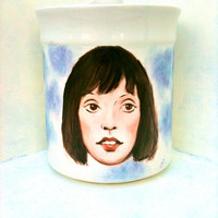 Shelley Duvall hand painted upcycled sugar canister