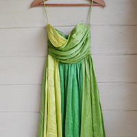 Vintage Betsey Johnson Evening Dress Party Dress Silk Cocktail Dress Green and Yellow Size 2
