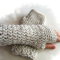 Cream crochet armwarmers, fingerless mittens, fingerless gloves from alpaca, wool and acrylic blend yarn
