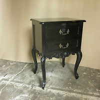 IN STOCK BLACK French gothic style Rococo Bed  side tables bedsides bedroom set