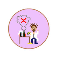 Cross stitch pattern to create christmas gift for science teacher at school. Pixel people pattern in English, Spanish and Dutch