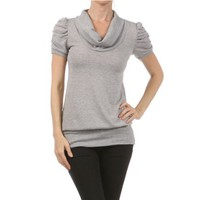 Grey Short Sleeve Cowl Neck Top Womens