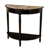 MegaHome Black Entryway Table with Faux Marble Top-MH154 at The Home Depot