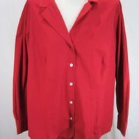 Talbots NWT Deep Red Wrinkle Resistant Long Sleeve Blouse Size 18W Petite
