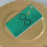 Harry Potter Glasses Glitter Green For Iphone 4/4s/5/5c/5s Plastic Case, iPhone 4/4s, 5 Rubber Case and Samsung S2/S3/S4 Plastic/Rubber case