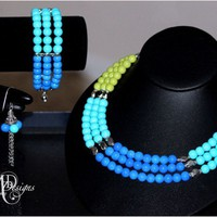 Jewelry Set in Blue and Green