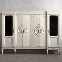 Eloquence One of a Kind Vintage Armoire Weathered Creamy White
