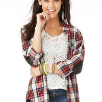 Sequin Elbow Patch Plaid Shirt