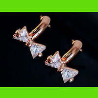 Rhinestone Bow Ring Wrapping Earrings