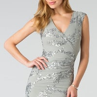 Short V-Neck Silver Party Dress