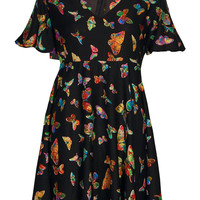 Rosie Butterfly Print Angel Sleeve Dress