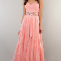 Floor Length Strapless Sweetheart Glitter Dress