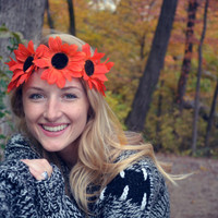 Orange Sunflower Flower Crown