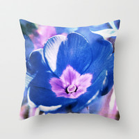 blue flower Throw Pillow by Angela Bruno