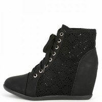 Dana-12new Black Lace Wedge Sneakers | MakeMeChic.com