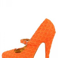 Aparicion Orange Netted Neon Mary Jane Pumps | MakeMeChic.com