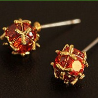 Golden Trim Ruby Ball Earrings