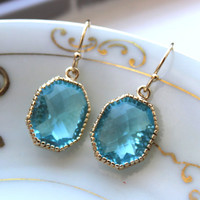 Aquamarine Earrings Gold Octagon Jewelry - Bridesmaid Earrings - Wedding Earrings - Christmas Gift - Wedding Jewelry - Aqua Blue Jewelry