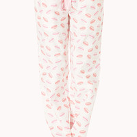 FOREVER 21 Love Of Macaron PJ Pants Cream/Pink