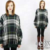 Vintage 90s Oversized Tartan Plaid Sweater Vintage Jumper 90s Grunge Sweater Oversized Sweater Hipster Sweater Plaid Jumper Oversized Knit