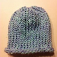 Small Handmade Child/Baby Hat Light Blue Light Purple