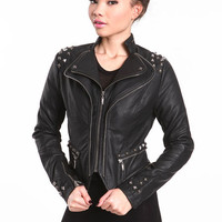 BOYFRIEND STUDDED FAUX LEATHER JACKET