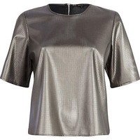 SILVER PERFORATED LEATHER-LOOK BOXY T-SHIRT