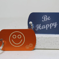 Be Happy Smiley Face Key Chain or Necklace