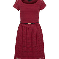 Red Lace Belted Cap Sleeve Dress