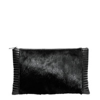 Reece Hudson Bowery Zip Top Oversized Clutch - Black Clutch - ShopBAZAAR