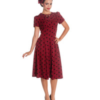 Burgundy & Black Polka Dot Madden Swing Dress