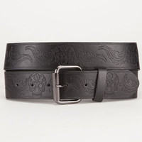 Sugar Skull Faux Leather Belt Black